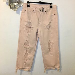 Current Air Mom Jeans High Rise Cropped Loose Fit